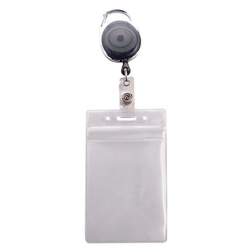 ADVANTUS Vertical Badge Holder/Carabiner-Style ID Card Reel Combo Pack, 2.58