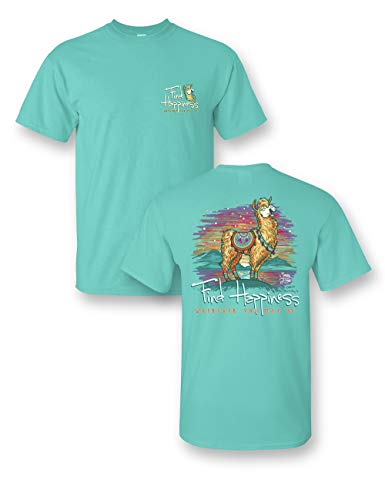 Find Happiness Llama Comfort Color Seafoam T-Shirt (3X)