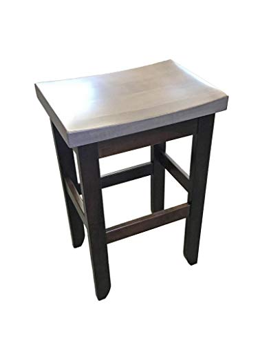 Amish Maple Bar Stool - Brown Maple Oak Saddle Bar Stool - Counter Height - Rich Tobacco & Driftwood Stain - Amish Made in The USA