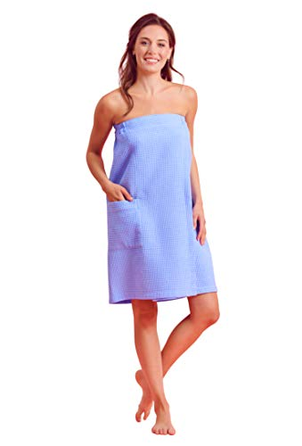 Women Spa/Bath Bath Wrap with Pocket - Soft, Light Adjustable Closure - Quick Dry (Large/X-Large, Serenity Blue)