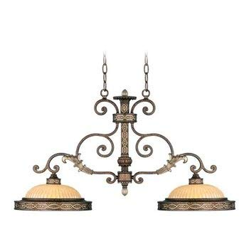 Livex Lighting 8522-64 Seville - Two Light Island Chandelier, Palacial Bronze with Gilded Accent Finish with Hand Crafted Gold Dusted Art Glass