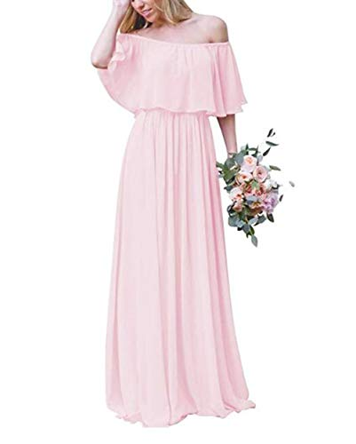 olise bridal Off Shoulder Chiffon Bridesmaid Dresses Strapless A-Line Evening Gown Long Prom Dress Skin Pink