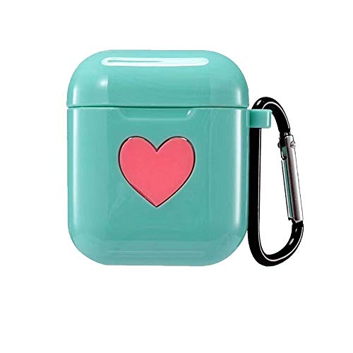 Airpods Case, CheeseandU Shockproof Case Cover Portable & Protective 6D Silicone Skin Cover Case with Cute Lovely Heart Pattern for Apple Airpods Charging Case Gift for Women Girlfriend, Green