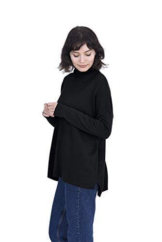 Cashmeren Oversized Tunic Side Slits Turtleneck Pullover 100% Pure Cashmere Long Sleeve Sweater for Women (Black, Small)