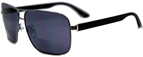 In Style Eyes Racy Nearly Invisible Line Bifocal Sunglasses/Pewter/1.50 Strength by In Style Eyes
