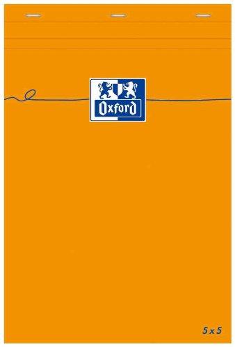 Oxford bloc-notes Arancione 85x 120mm a quadretti 80fogli Optik Paper 80g