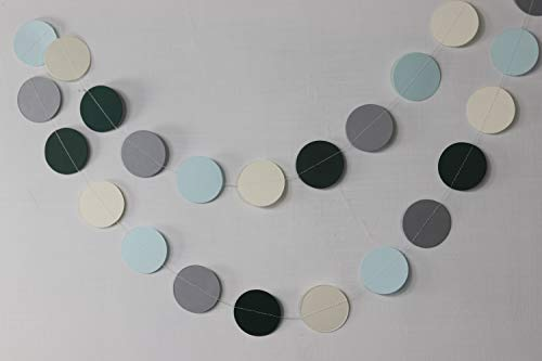 Teal white and gray paper garland, Heart garland, Wedding decoration, bridal shower, Birthday party decor, Paper circle garland,