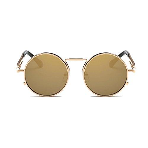 inspirado redondo sol para hombres Steampunk de retro mujers Gusspower polarizadas gafas estilo metálico C y círculo YBqntTz