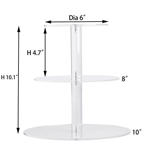 YestBuy 3 Tiers Round Party Wedding Birthday Clear Tree Tower Acrylic Cake Stand (3 Tier Round(4.7'' between 2 layers))­ by YestBuy (Image #1)