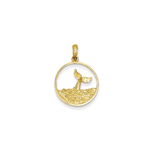 Tail Rose Yellow (Roy Rose Jewelry 14K Yellow Gold Whale Tail in Circle with Waves Pendant)