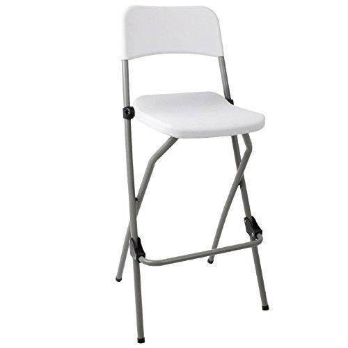 2 X Bolero Folding High Stool Steel Frame Plastic Seat Kitchen Portable-White