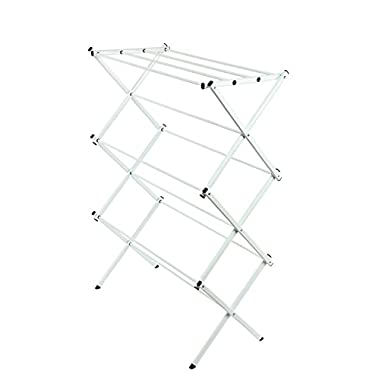 StorageManiac Folding Clothes Drying Rack, Water-resistant and Anti-rust Steel Laundry Drying Rack, 41-inch in Height, White