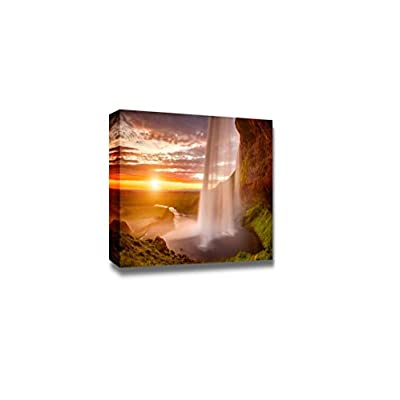 Canvas Prints Wall Art - Beautiful Waterfall Seljalandsfoss on The Iceland | Modern Home Deoration/Wall Art Giclee Printing Wrapped Canvas Art Ready to Hang - 24