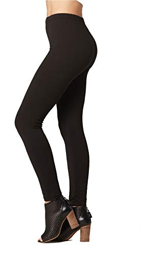 (Conceited Super Soft High Waisted Printed Leggings for Women - Solid - Black - Small/Medium (0-12))