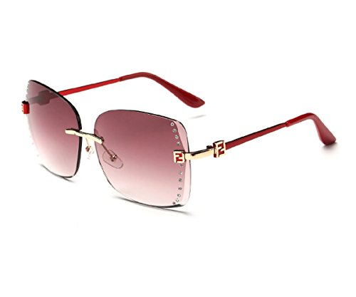 Konalla Square Rimless Gradient Lens Inlaid Crysstal Women's Sunglasses - Glasses Oklay