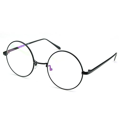 PenSee Circle Oversized Metal Eyeglasses Frame Inspired Horned Rim Clear Lens Glasses (Black)