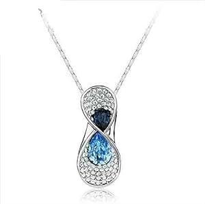 Sparkling_Crystal Swarovski Elements Aguamarina Cristal Azul del infinito del oro blanco 18K plateó el collar pendiente de la aleación con el cristal austríaco para las mujeres