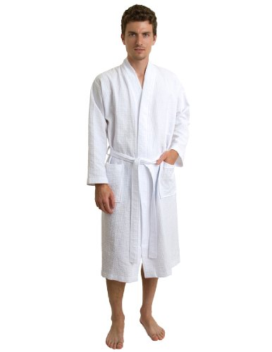 White Spa Waffle Robe - TowelSelections Men's Robe, Kimono Waffle Spa Bathrobe Large/X-Large White