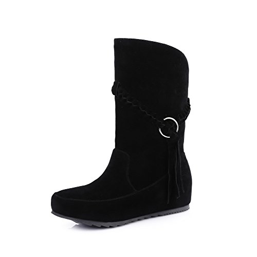 Frosted Top Low Heels Black Toe WeenFashion Closed Boots Solid Round Women's Low Cwn0Y8q