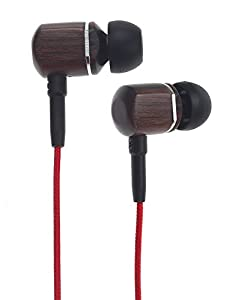 Symphonized MTRX Premium Genuine Wood In-ear Noise-isolating Headphones with Mic and Nylon Cable (Red)