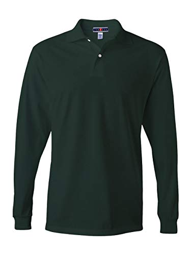 Jerzees Men's Spot Shield Long Sleeve Polo Sport Shirt, Forest Green, Small -