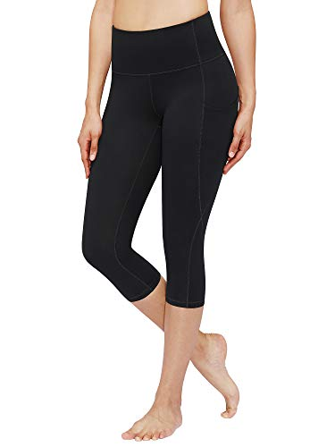 BISUAL High Waisted Yoga Pants with Pockets, Tummy Control Workout 4 Way Stretch Yoga Leggings for Women (Capris Black, X-Small)