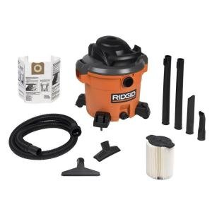 RIDGID12-Gal. 5.0 Peak HP Wet/Dry Vac with Bonus Dust Bag and Crevice Tool