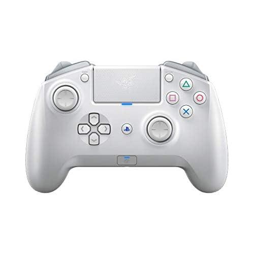 chollos oferta descuentos barato Razer Raiju Tournament Edition 2019 Controlador de juegos inalámbrico y con cable para PC PS4 controlador Bluetooth con cable e inalámbrico teclas de acción Mecha Tactile Mercury Blanco