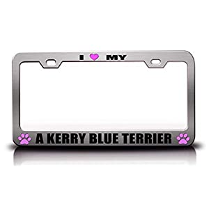 Customola - I Love My A Kerry Blue Terrier Pet Cats Dogs Metal License Plate Frame Ch 1