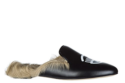 Chiara Ferragni Mujer Zapatillas Sandalias EN Piel Nuevo Negro