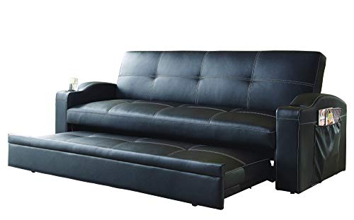 Pop Up Trundle Convertible Sofa In Black Leatherette