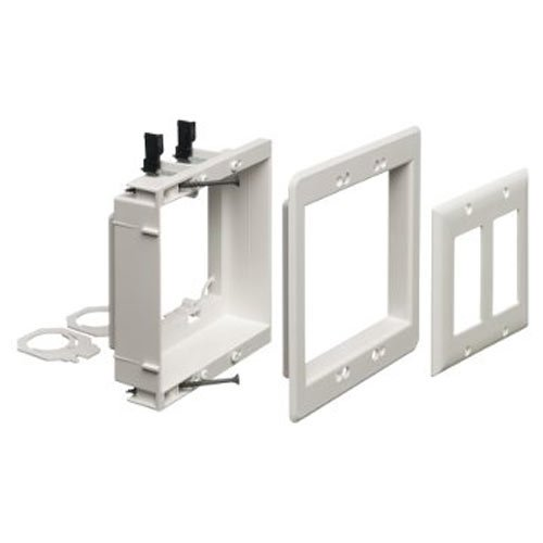 (Arlington LVU2W-1 Recessed Low Voltage Mounting Bracket with Paintable Wall Plate, 2-Gang, White)