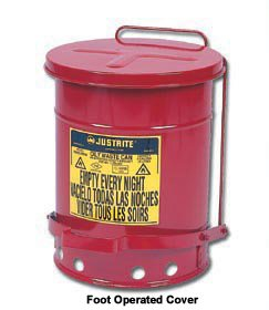 Countertop Oily Waste Can, 2 Gal., Red Red Oily Waste Cans