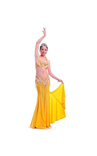 Belly Dance Costume Bellydance Dress Wear Sexy Suit: Bra & Belt & Skirt Sonlle,Gold,M]()