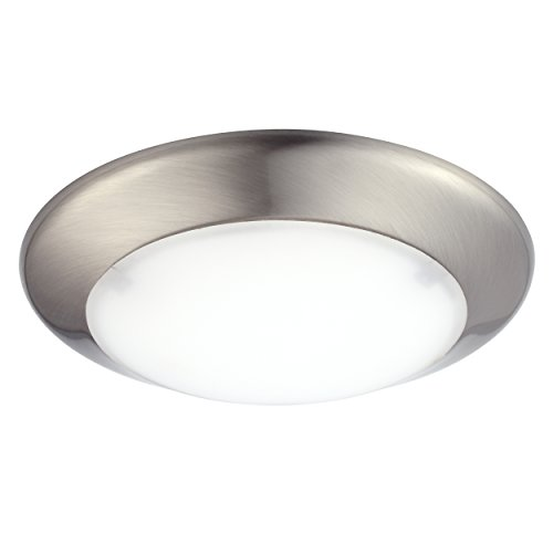 GetInLight Dimmable LED Disk Light, 4-Inch, Surface Mount or Recessed, Soft White 3000K, Brushed Nickel Finish, ETL Listed, Wet Location Rated, IN-0301-1-SN