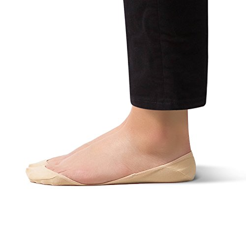 No Show Non Slip Women's Cotton Sock – SHEEC SoleHugger Secret - Cream Medium 8 (Cotton Pumps)