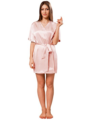 ElleSilk Women's Short Silk Robe, Silk Nightwear, Pure Mulberry Silk Sleepwear, Light Pink, XS by ElleSilk