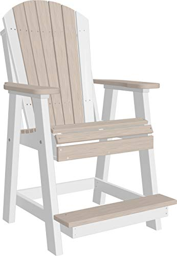 LuxCraft Poly Recycled Plastic Balcony Adirondack Chair with Footrest, Durable Outdoor Counter Height Chair ()