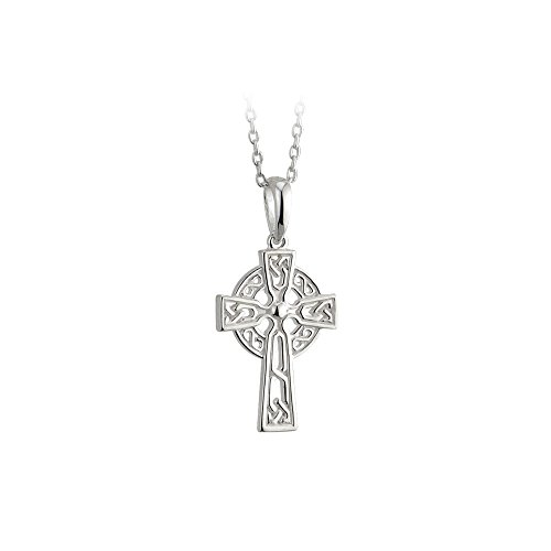 Biddy Murphy Childrens Celtic Cross Necklace Sterling Silver Double Sided Made in Ireland -
