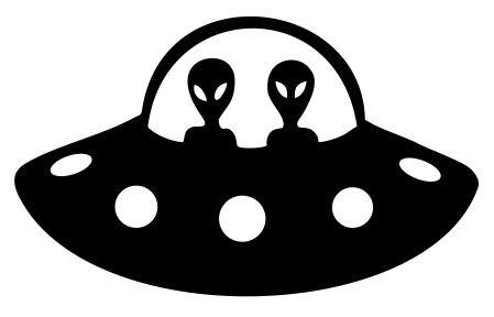 Spaceship Sticker - JS Artworks Alien Spaceship UFO Vinyl Decal Sticker (Black)