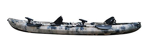 BKC UH-TK219 12 foot Tandem Sit On Top Kayak 2 or 3 person with 2 Paddles and Seats and 5 Fishing Rod Holders Included (Camo)