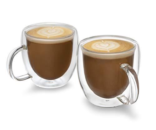 Set of 2 Premium 5oz Espresso Cups - Double-Walled Espresso Glasses, Savour the Taste and Aroma from your Favorite Espresso Machine