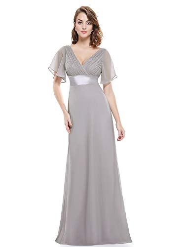Ever-Pretty Womens Empire Waist V Neck Semi Formal Evening Dress 14 US Grey