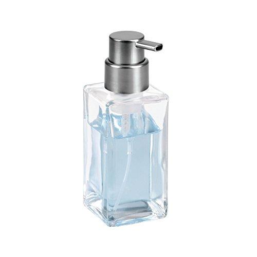 mDesign Foaming Soap Glass Dispenser Pump Bottle for Bathroom Vanities or Kitchen Sink, Countertops - Square, - Dispenser Soap Square Nickel