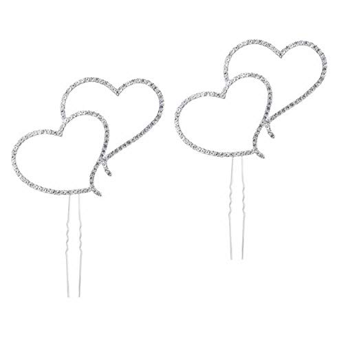 (RAYNAG 2 Pack Sparkling Double Heart Cake Toppers,Rhinestone Crystal Wedding Party Anniversary Cake Decor Accessories)