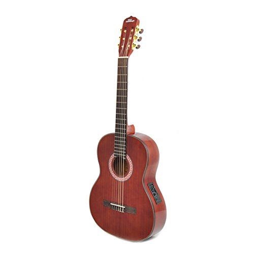 Left-Handed Classical Acoustic Electric Guitar – 39.5″ 6String Classical Mahogany Deep Cherry Polished w/ Built-in Preamplifier, Case Bag, Nylon Strap, Tuner, Picks, Great for Beginner – Pyle PGA33LBR