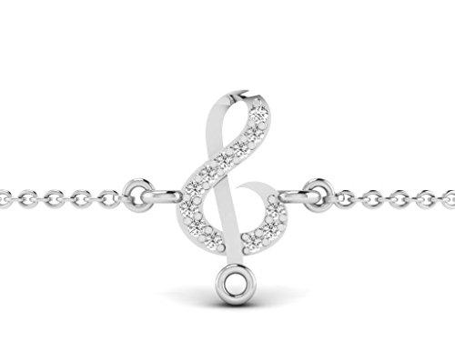 Or Blanc 18 ct Bracelet Diamant en forme de Signe de la musique, 0.02 Ct Diamant, GH-SI, 0.35 grammes.