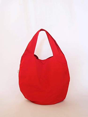 Red hobo bag for women - Casual slouchy handbag - Everyday shoulder shopper bag - Soft canvas market tote -