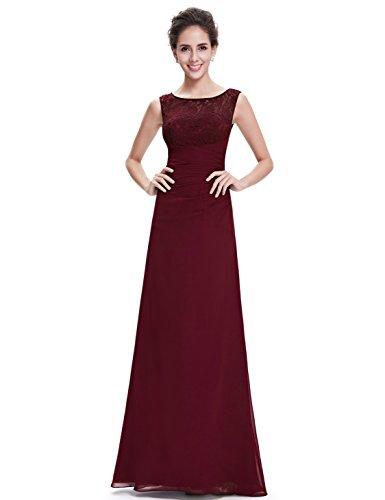 Ever Pretty 08641 - Elegante vestido largo de noche con cuello de pico granate