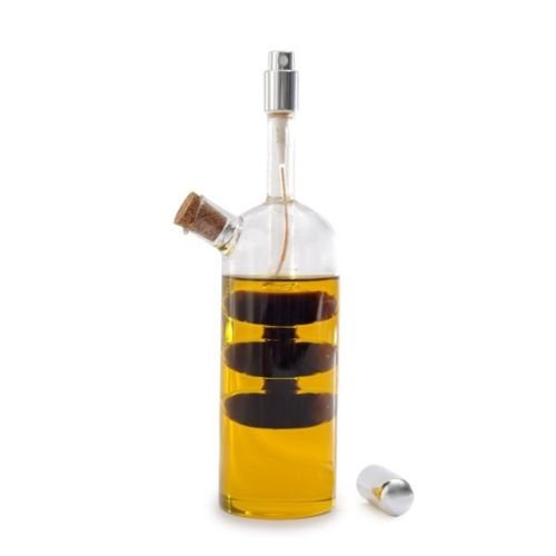 Norpro Oil Vinegar Cruet with Spritzer Hand-blown Glass Bottle and (Norpro Oil Sprayer)